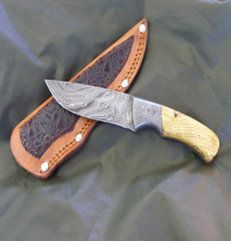 hunting knife damascus 12